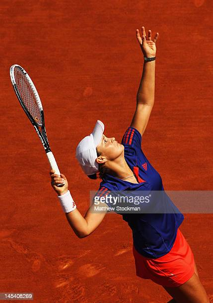 Ashleigh Barty of Australia serves in her women's singles first round match between Ashleigh Barty of Australia and Petra Kvitova of Czech Republic...