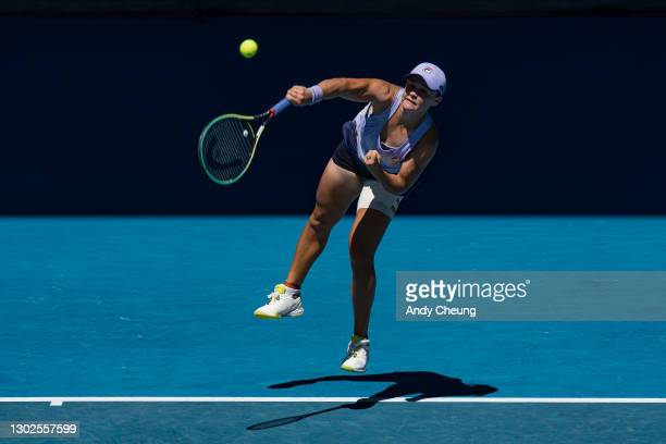 Ashleigh Barty of Australia serves in her Women's Singles Quarterfinals match against Karolina Muchova of the Czech Republic during day 10 of the...