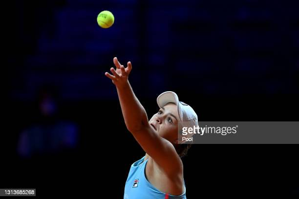 Ashleigh Barty of Australia serves on day 5 of the Porsche Tennis Grand Prix match between Ashleigh Barty of Australia and Laura Siegemund of Germany...