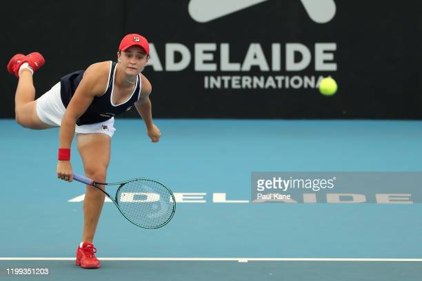 Ashleigh Barty of Australia serves to Anastasia Pavlyuchenkova of Russia during day three of the 2020 Adelaide International at Memorial Drive on...