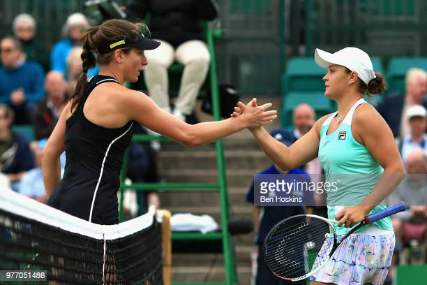 Ashleigh Barty of Australia shakes hands with runner up Johanna Konta of Great Britain in the Womens Singles Final during Day Nine of the Nature...