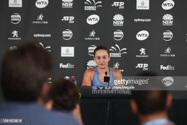 Ashleigh Barty of Australia speaks at a press conference during day four of the 2019 Sydney International at Sydney Olympic Park Tennis Centre on...