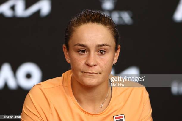 Ashleigh Barty of Australia talks to the media following her Women's Singles Quarterfinals match against Karolina Muchova of the Czech Republic...