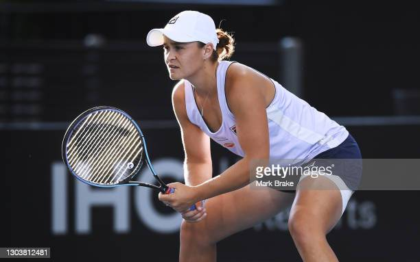 Ashleigh Barty of Australia waits for serve during her match against Danielle Collins of the USA on day three of the Adelaide International WTA 500...