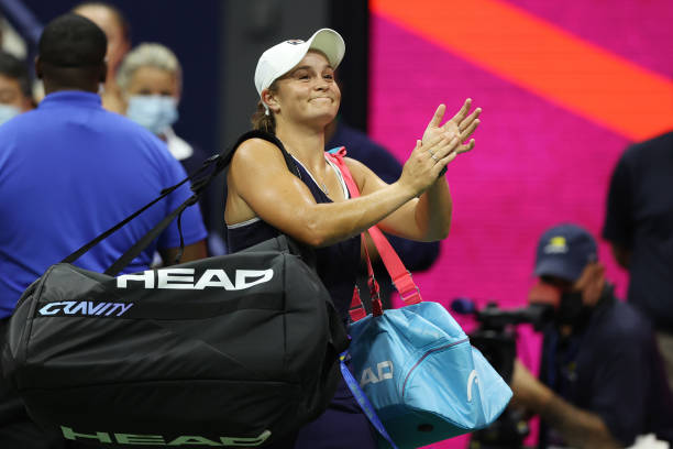 Ashleigh Barty of Australia walks off the court after a loss to Shelby Rogers of the United States during her Women's Singles third round match on...