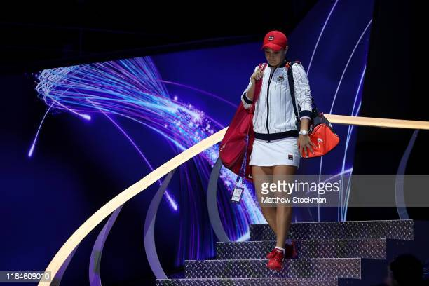 Ashleigh Barty of Australia walks onto the court for her Women's Singles match against Petra Kvitova of the Czech Republic on Day Five of the 2019...