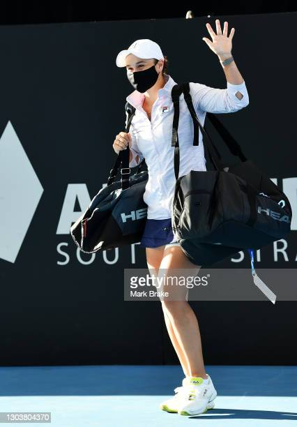 Ashleigh Barty of Australia walks out onto the court for her match against on day three of the Adelaide International WTA 500 at Memorial Drive on...