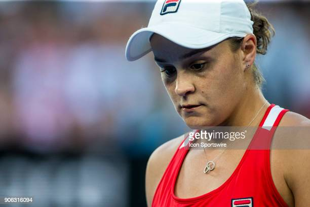 Ashleigh Barty of Australia walks to her players bench in her second round match during the 2018 Australian Open on January 18 at Melbourne Park...
