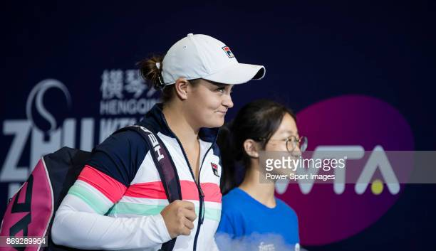 Ashleigh Barty of Australia walks to the court prior to the singles Round Robin match of the WTA Elite Trophy Zhuhai 2017 against Angelique Kerber of...