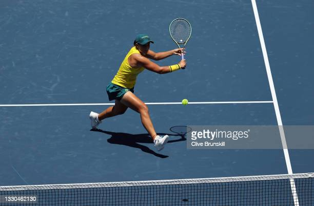 Ashleigh Barty of Team Australia plays a backhand volley during her Women's Singles First Round match against Sara Sorribes Tormo of Team Spain on...