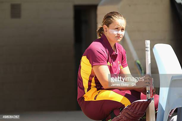 Ashleigh Barty of the Fire waits to bat during the WNCL match between South Australia and Queensland at Railsways Oval on November 21 2015 in...
