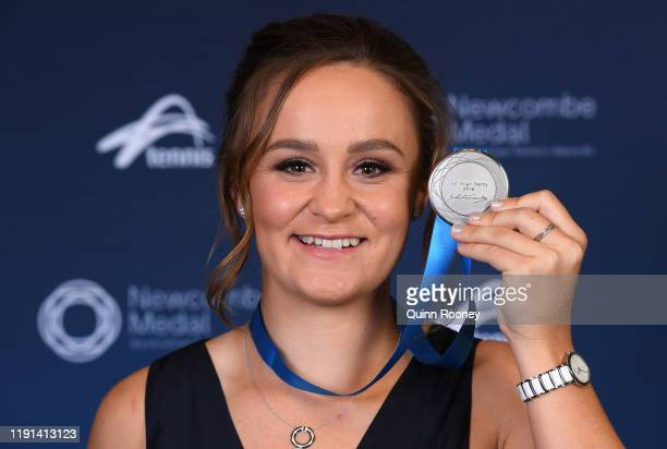 Ashleigh Barty poses with her medal after being awarded the 2019 Newcombe Medal during the 2019 Newcombe Medal at Crown Palladium on December 02 2019...
