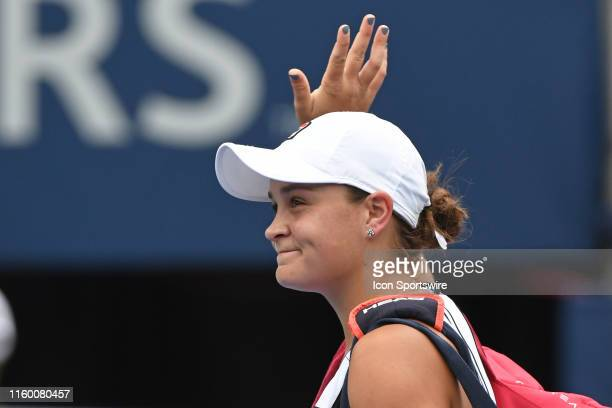 Ashleigh Barty waves to the crowd as she exits after being defeated by Sofia Kenin in the WTA Rogers Cup match on August 6 2019 at Aviva Centre in...