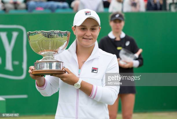 Ashleigh Barty with the trophy after beating Johanna Konta of Great Britain during Day Nine of the Nature Valley Open at Nottingham Tennis Centre on...