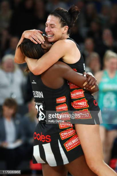Ashleigh Brazill of the Magpies and Shimona Nelson of the Magpies celebrate their win during the round 14 Super Netball match between the Collingwood...