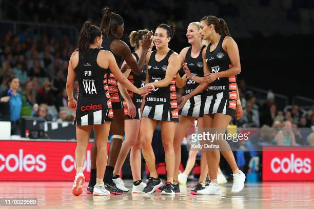 Ashleigh Brazill of the Magpies and team mates celebrate during the round 14 Super Netball match between the Collingwood Magpies and the Melbourne...