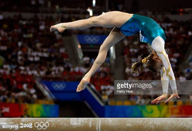 Ashleigh Brennan of Australia performs on the balance beam in the artistic gymnastics team event at the National Indoor Stadium during Day 5 of the...