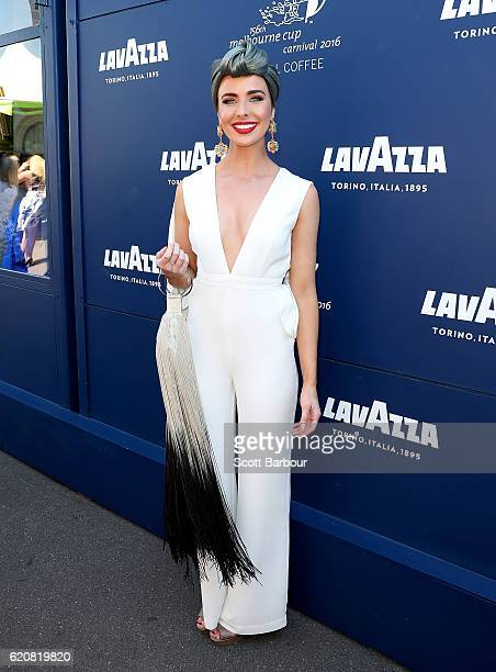 Ashleigh Brewer poses at the Lavazza Marquee on Oaks Day at Flemington Racecourse on November 3 2016 in Melbourne Australia