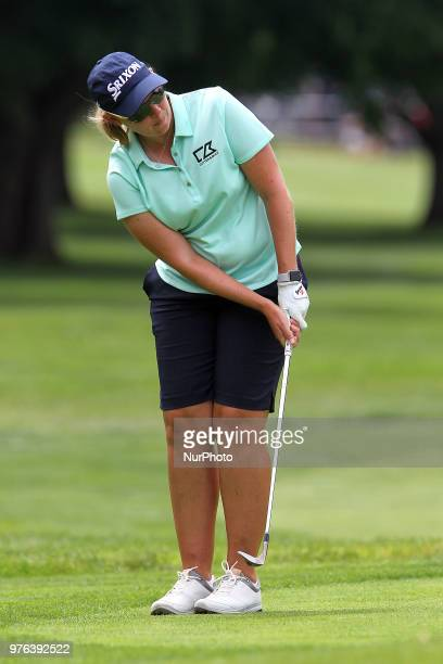 Ashleigh Buhai of Johannesburg South Africa follows her putt on the 16th green during the third round of the Meijer LPGA Classic golf tournament at...