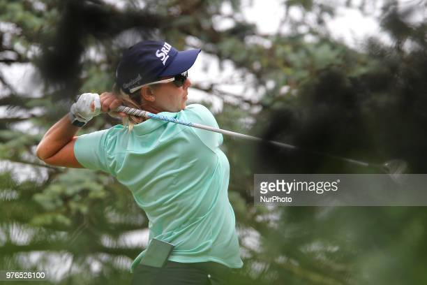 Ashleigh Buhai of Johannesburg South Africa hits from the 3rd tee during the third round of the Meijer LPGA Classic golf tournament at Blythefield...