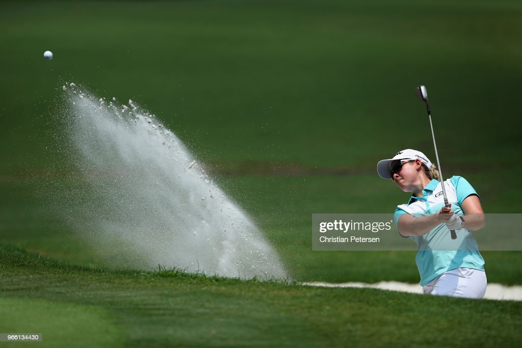 Ashleigh Buhai of South Africa chips from the bunker onto the first green during the third round of the 2018 U.S. Women's Open at Shoal Creek on June 2, 2018 in Shoal Creek, Alabama.
