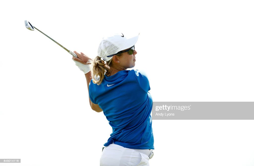 Ashleigh Buhai of South Africa hits her tee shot on the 15th hole during the final round of the Indy Women In Tech Championship-Presented By Guggenheim at the Brickyard Crossing Golf Course on September 9, 2017 in Indianapolis, Indiana.