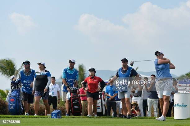 Ashleigh Buhai of South Africa plays a shot on the 16th hole during the final round of the Blue Bay LPGA at Jian Lake Blue Bay golf course on...
