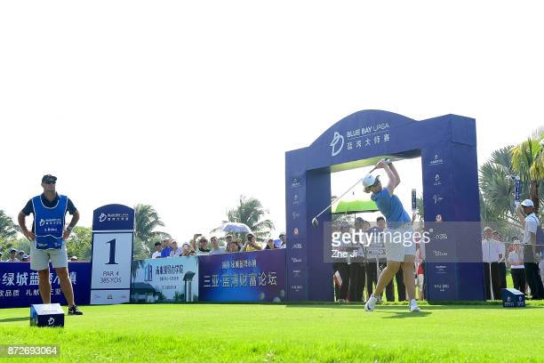 Ashleigh Buhai of South Africa plays a shot on the 1st hole during the final round of the Blue Bay LPGA at Jian Lake Blue Bay golf course on November...