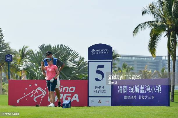 Ashleigh Buhai of South Africa plays a shot on the 5th hole during the third round of the Blue Bay LPGA at Jian Lake Blue Bay golf course on November...
