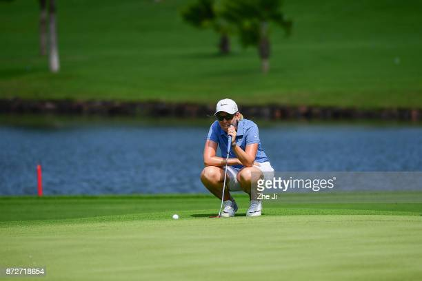 Ashleigh Buhai of South Africa plays a shot on the 6th hole during the final round of the Blue Bay LPGA at Jian Lake Blue Bay golf course on November...