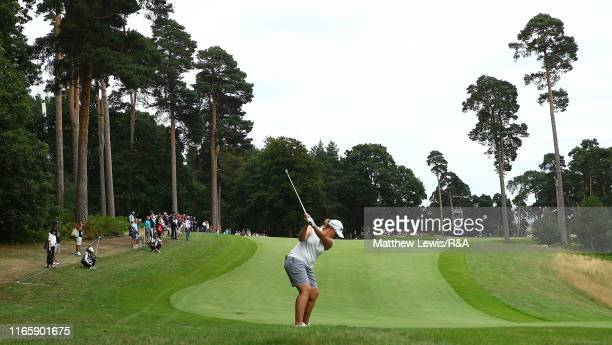 Ashleigh Buhai of South Africa plays her second shot on the 7th hole during Day Three of the AIG Women's British Open at Woburn Golf Club on August...