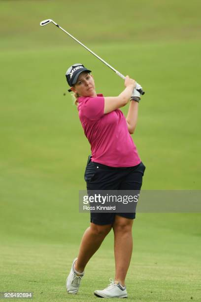 Ashleigh Buhai of South Africa plays her second shot on the first hole during round three of the HSBC Women's World Championship at Sentosa Golf Club...