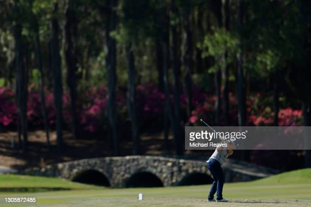 Ashleigh Buhai of South Africa plays her shot from the 11th tee during the final round of the LPGA Drive On Championship at Golden Ocala Golf Club on...