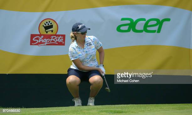 Ashleigh Buhai of South Africa reacts to her missed chip for eagle on the 18th green during the second round of the ShopRite LPGA Classic Presented...