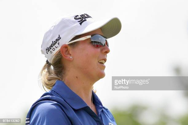 Ashleigh Buhai of South Africa walks off the 18th green during the final round of the Meijer LPGA Classic golf tournament at Blythefield Country Club...
