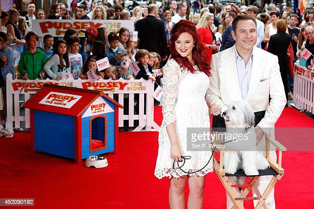 Ashleigh Bulter David Walliams and Pudsey attend the World Premiere of 'Pudsey The Dog The Movie' at Vue West End on July 13 2014 in London England