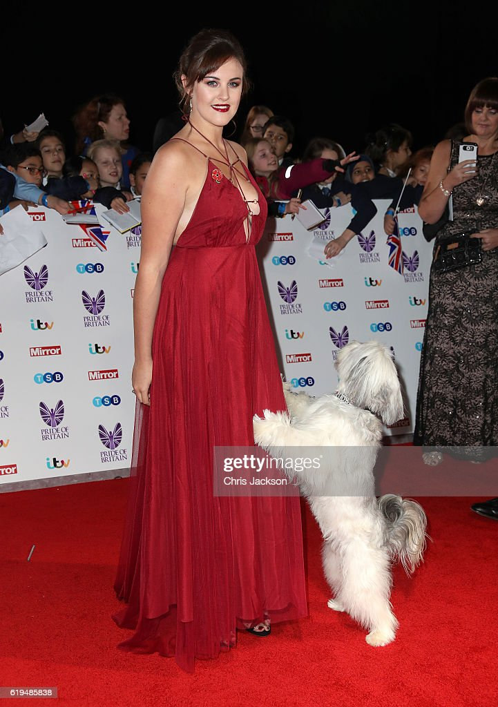 Ashleigh Butler and Pudsey attends the Pride Of Britain awards at the Grosvenor House Hotel on October 31, 2016 in London, England.