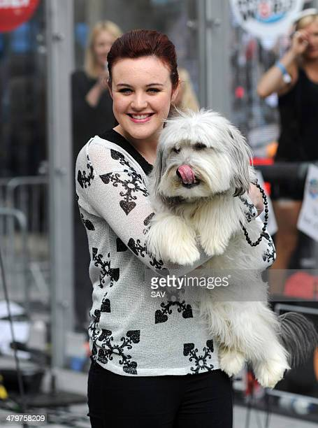 Ashleigh Butler and Pudsey the dog pictured at the Sport Relief event at the BBC with Jo Whiley on March 20 2014 in London England