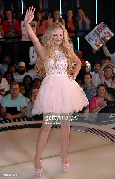 Ashleigh Coyle is evicted from the Big Brother house 2014 at Elstree Studios on August 15 2014 in Borehamwood England