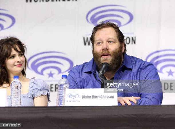 Ashleigh Cummings and Olafur Darri Olafsson speak onstage during the Wondercon Nos4a2 screening and panel at Anaheim Convention Center on March 30...