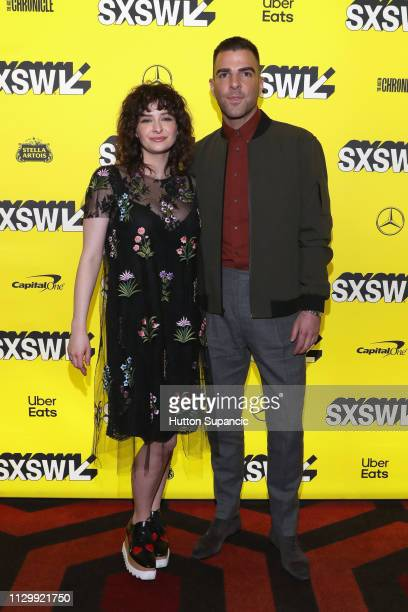 Ashleigh Cummings and Zachary Quinto attend NOS4A2 Premiere during the 2019 SXSW Conference and Festivals at Alamo Lamar D on March 11 2019 in Austin...