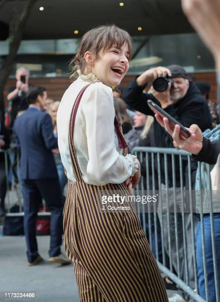 Ashleigh Cummings chats with fans on the streets of Toronto during the 2019 Toronto International Film Festival on September 08 2019 in Toronto Canada