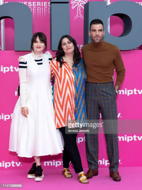 Ashleigh Cummings Jami O'Brien and Zachary Quinto attend day three of the 2nd Canneseries International Series Festival on April 07 2019 in Cannes...