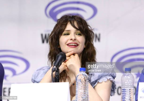 Ashleigh Cummings speaks onstage during the Wondercon Nos4a2 screening and panel at Anaheim Convention Center on March 30 2019 in Anaheim California