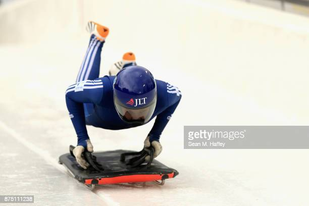 Ashleigh Fay Pitaway of Great Britain takes a training run in the Women's Skeleton during the BMW IBSF Bobsleigh + Skeleton World Cup at Utah Olympic...
