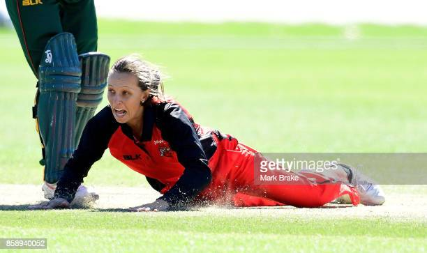 Ashleigh Gardener attempts to field a ball off her own bowling during the WNCL match between South Australia and Tasmania at Adelaide Oval No2 on...