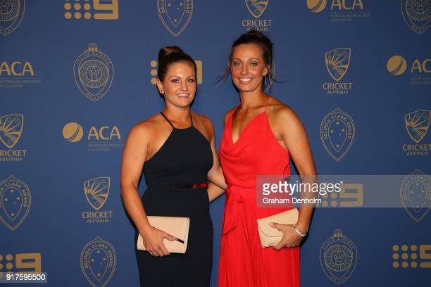 Ashleigh Gardner and Bridget Patterson arrive at the 2018 Allan Border Medal at Crown Palladium on February 12 2018 in Melbourne Australia