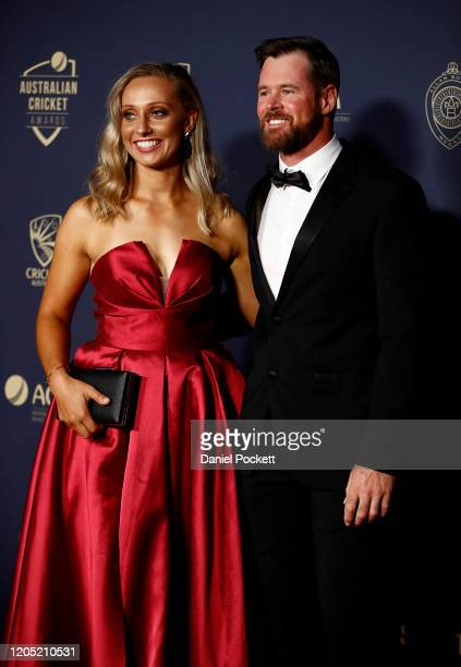 Ashleigh Gardner and Dan Christian arrives ahead of the 2020 Cricket Australia Awards at Crown Palladium on February 10 2020 in Melbourne Australia