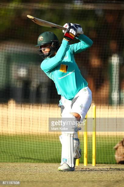 Ashleigh Gardner bats during an Australian women's Ashes series training session at North Sydney Oval on November 7 2017 in Sydney Australia
