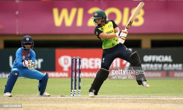 Ashleigh Gardner of Australia bats with Taniya Bhatia wicket keeper of India looking on during the ICC Women's World T20 2018 match between India and...